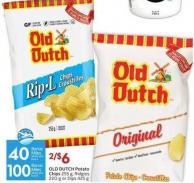 Old Dutch Potato Chips 255 g - Ridgies 220 g or Dips 425 g 40 - Air Miles Bonus Miles or 100 Air Miles Bonus Miles