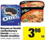 Breyers Or Nestlé Confectionary Blends 1.5/1.66 L Or Nestlé Novelties 4-10's