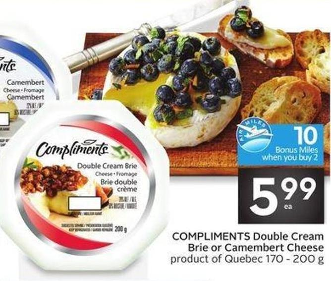 Compliments Double Cream Brie or Camembert Cheese - 10 Air Miles Bonus Miles