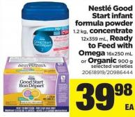 Nestlé Good Start Infant Formula Powder - 1.2 Kg - Concentrate - 12x359 Ml - Ready To Feed With Omega - 16x250 Ml Or Organic - 900 G