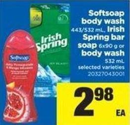 Softsoap Body Wash 443/532 Ml - Irish Spring Bar Soap 6x90 G Or Body Wash 532 Ml