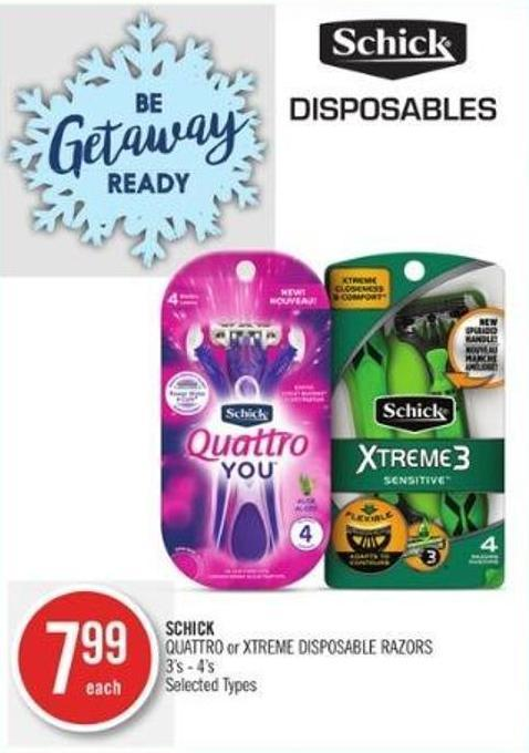 SCHICK QUATTRO or XTREME DISPOSABLE RAZORS 3's - 4's