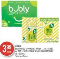 Bubly Flavoured Sparkling Water (12 X 355ml) or 7up Lemon Lemon Sparkling Lemonade (8 X 355ml)