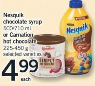 Nesquik Chocolate Syrup 500/710 Ml Or Carnation Hot Chocolate 225-450 G