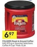 Folgers Roast & Ground Coffee 642-975 g or Gourmet Selections Coffee K-cup Pods 12 Pk
