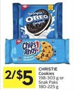 Christie Cookies 198-303 g or Snak Paks 180-225 g