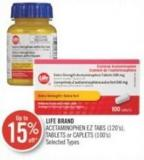 Life Brand Acetaminophen Ez Tabs (120's) - Tablets or Caplets (100's)