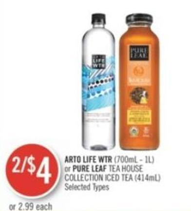 Arto Life Wtr (700ml - 1l) or Pure Leaf Tea House Collection Iced Tea (414ml)