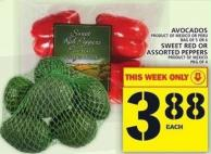 Avocados Or Sweet Red Or Assorted Peppers