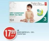 PC BOXED DIAPERS 64's-104's