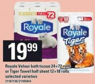 Royale Velour Bath Tissue 24=72 Rolls Or Tiger Towel Half Sheet 12=18 Rolls