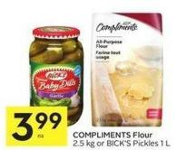 Compliments Flour 2.5 Kg or Bick's Pickles 1 L