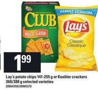 Lay's Potato Chips - 141-255 G Or Keebler Crackers - 360/388 G