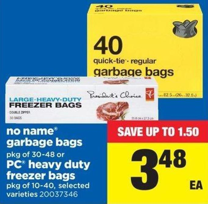 No Name Garbage Bags .Pkg Of 30-48 Or PC Heavy-duty Freezer Bags - Pkg Of 10-40