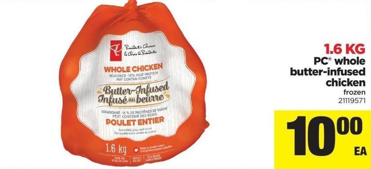 PC Whole Butter-infused Chicken - 1.6 Kg