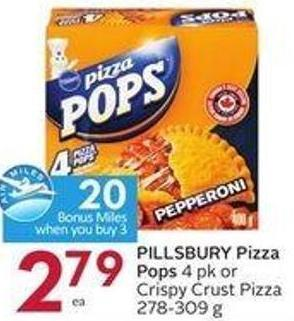 Pillsbury Pizza Pops 4 Pk or Crispy Crust Pizza 278-309 g - 20 Air Miles Bonus Miles
