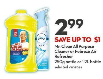 Mr. Clean All Purpose Cleaner or Febreze Air Refresher 250g Bottle or 1.2l Bottle
