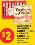 Werther's Original Candy - 116-135 g or Candy Canes - 16 Ct