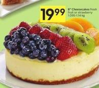 8in Cheesecakes Fresh Fruit or Strawberry 1.095-1.14 Kg