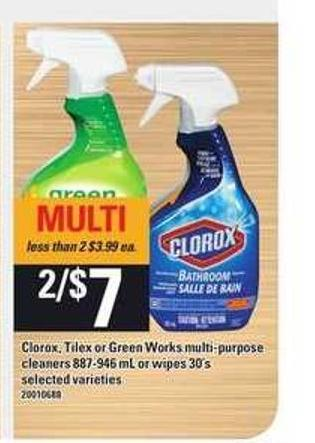 Clorox - Tilex Or Green Works Multi Purpose Cleaners 887-946 Ml Or Wipes 30's