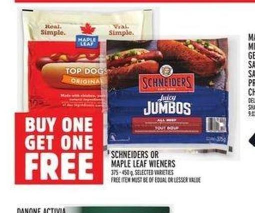 Schneiders Or Maple Leaf Wieners