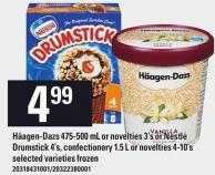 Häagen-dazs 475-500 Ml Or Novelties 3's Or Nestlé Drumstick 4's - Confectionery 1.5 L Or Novelties 4-10's