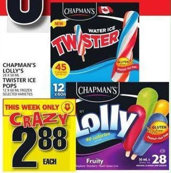 Chapman's Lolly's Or Twister Ice Pops