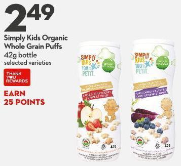 Simply Kids Organic  Whole Grain Puffs 42g Bottle