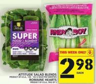 Attitude Salad Blends Or Romaine Hearts