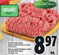Yorkshire Valley Farms Organic Ground Chicken Or Turkey