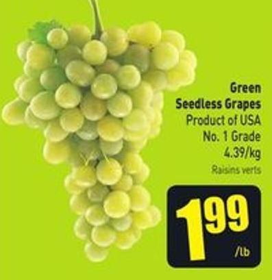 Green Seedless Grapes Product of USA No. 1 Grade 4.39/kg