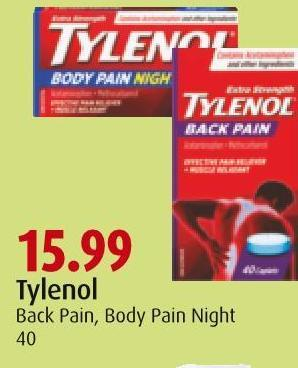 Tylenol Back Pain - Body Pain Night 40