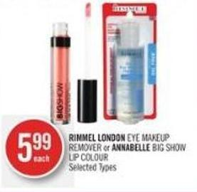 Rimmel London Eye Makeup Remover or Annabelle Big Show Lip Colour