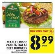 Maple Lodge Zabiha Halal Beef Burgers 907 G Frozen