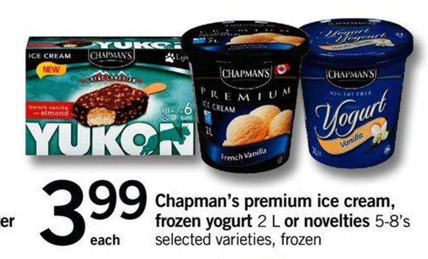 Chapman's Premium Ice Cream - Frozen Yogurt 2 L Or Novelties 5-8's