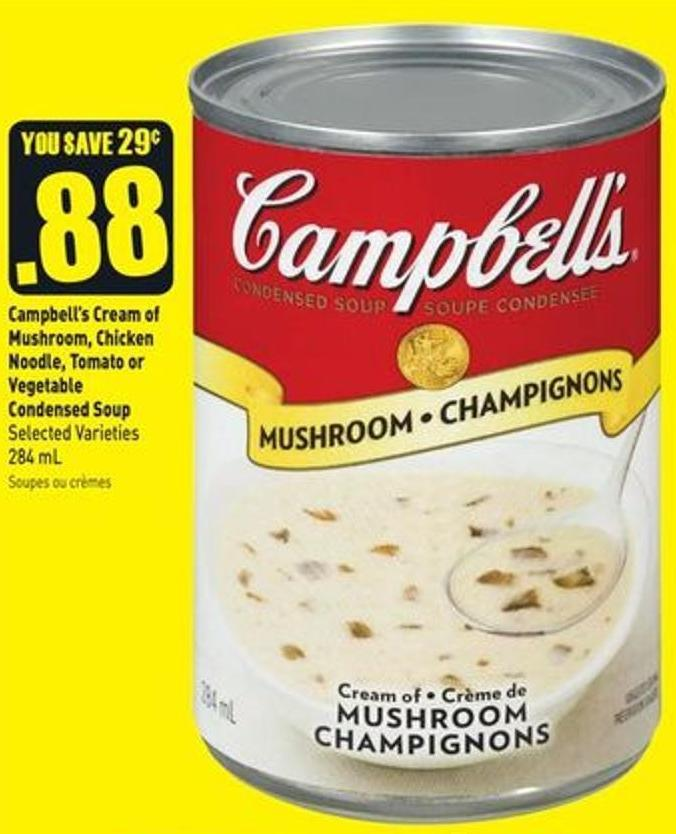 Campbell's Cream of Mushroom - Chicken Noodle - Tomato or Vegetable Condensed Soup