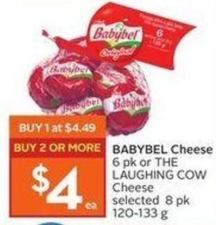 Babybel Cheese 6 Pk or The Laughing Cow Cheese Selected 8 Pk 120-133 g