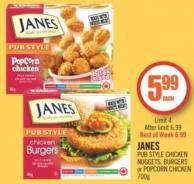 Janes Pub Style Chicken Nuggets - Burgers or Popcorn Chicken 700g