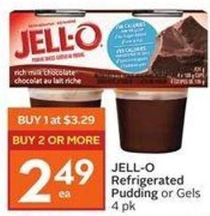 Jell-o Refrigerated Pudding or Gels 4 Pk
