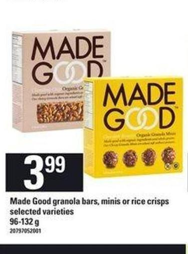 Made Good Granola Bars - Minis Or Rice Crisps - 96-132 g