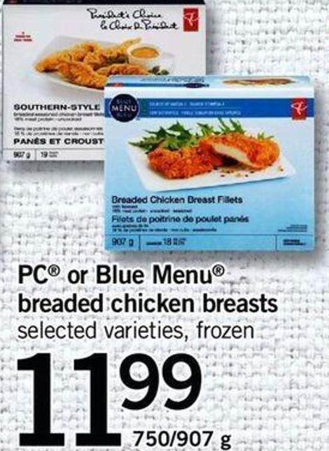 PC Or Blue Menu Breaded Chicken Breasts - 750/907 G
