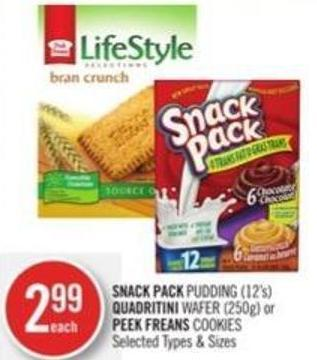 Snack Pack Pudding (12's) Quadritini Wafer (250g) or Peek Freans Cookies