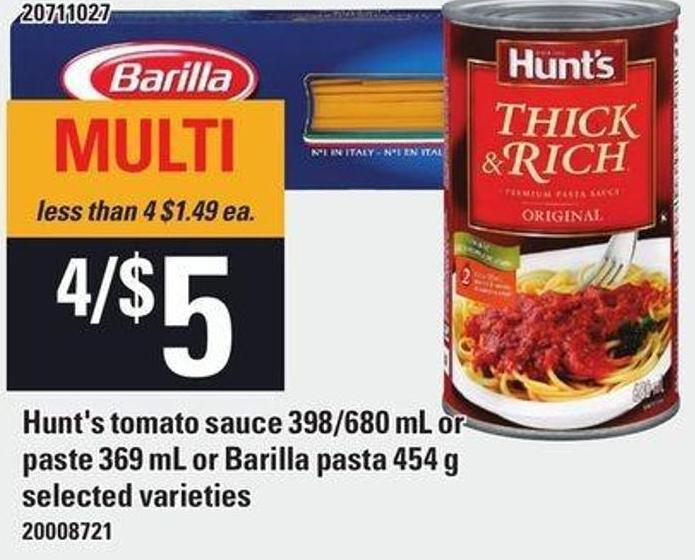 Hunt's Tomato Sauce 398/680 Ml Or Paste 369 Ml Or Barilla Pasta 454 G