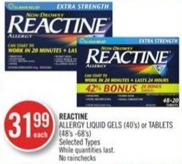Reactine Allergy Liquid Gels (40's) or Tablets (40's - 68's)