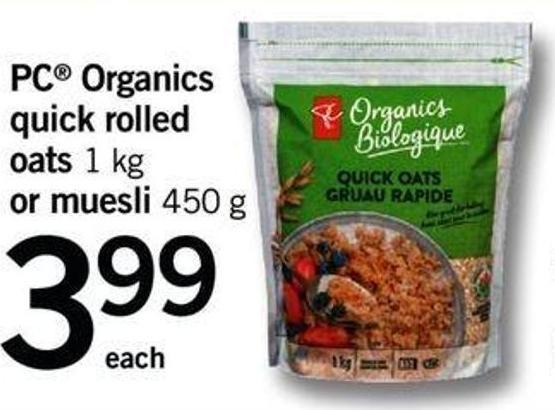 PC Organics Quick Rolled Oats - 1 Kg Or Muesli - 450 G