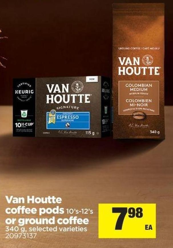 Van Houtte Coffee PODS - 10's-12's Or Ground Coffee - 340 G