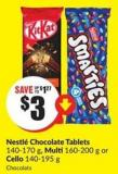 Nestlé Chocolate Tablets 140-170 g - Multi 160-200 g or Cello 140-195 g