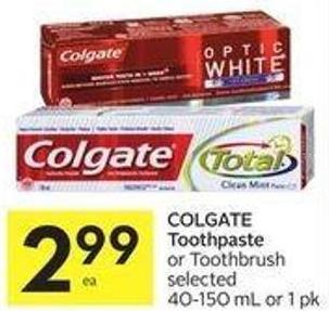 Colgate Toothpaste or Toothbrush Selected 40-150 mL or 1 Pk