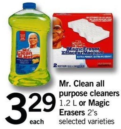 Mr. Clean All Purpose Cleaners - 1.2 L Or Magic Erasers - 2's