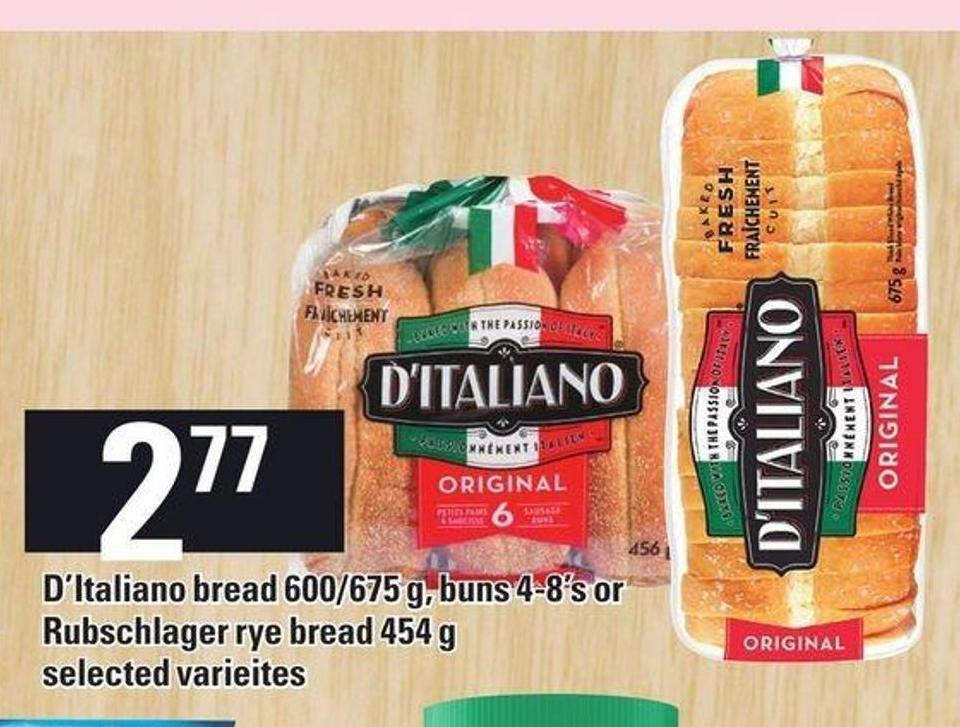 D'italiano Bread 600/675 g - Buns 4-8's Or Rubschlager Rye Bread 454 g